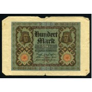 Billete Alemania P.69 100 Marcos 1920 Circulado Pliegues Roturas Foto estandar