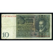Billete Alemania P.180 10 Marcos 1929 Circulado Pliegues dobleces Foto estandar