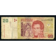 Billete Argentina P.355 20 pesos 2003 Circulado Pliegues, defecto