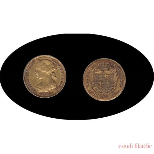 España Spain 1864 100 Reales Madrid Oro Au gold