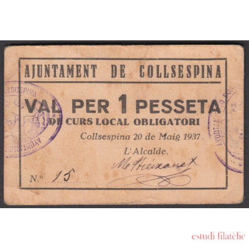 Billete local 1937 Ajuntament de Collsespina 1 pta