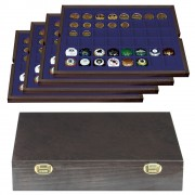 Authentic wood case CARUS with 4 trays for 192 coins/coin capsules up to Ø 30 mm