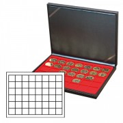 NERA M coin case with a light red insert with 48 square compartments