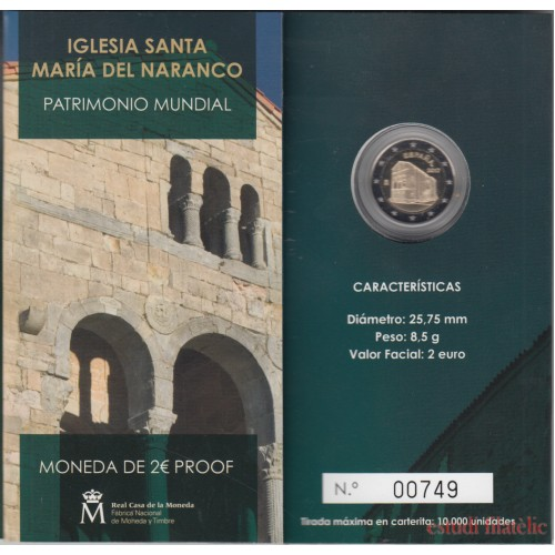 España Spain 2017 Cartera Oficial Moneda 2€ euros comm. Proof  Sta. Mª Naranco