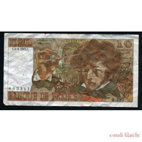 Francia 10 Francos 1977 Billete Banknote Circulado Puntos de aguja