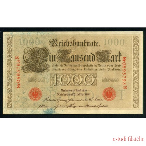 Billete Alemania Nº 45b 1000 Marcos 1910 Circulado Foto estandar