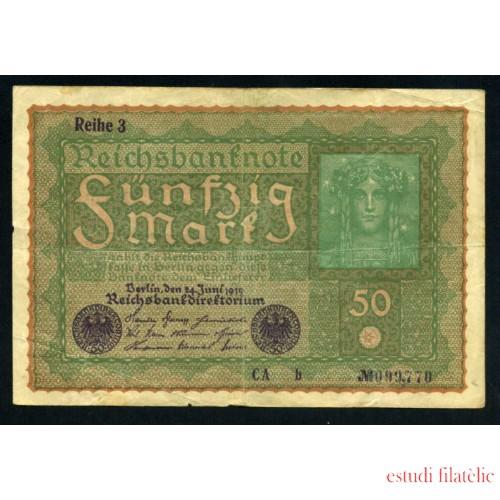 Billete Alemania P.66 50 Marcos 1919 Circulado Pliegues Foto estandar