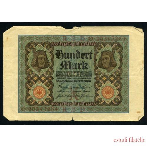Billete Alemania P.69 100 Marcos 1920 Circulado Pliegues Roturas Foto estandar