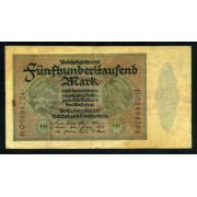Billete Alemania P.88 500 000 Marcos 1923 Circulado Pliegues
