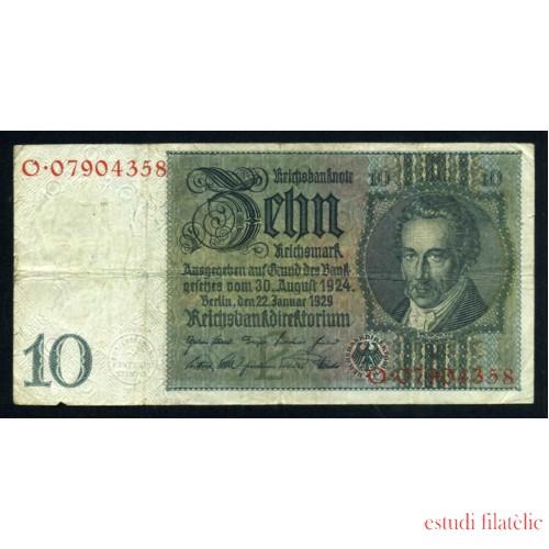 Billete Alemania P.180 10 Marcos 1929 Circulado Pliegues dobleces Foto estandar