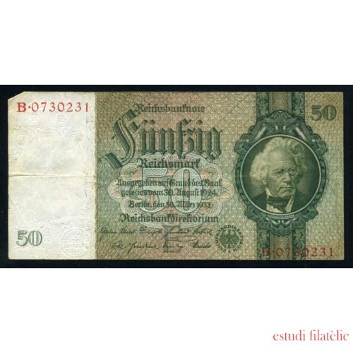 Billete Alemania P.182 50 Marcos 1933 Circulado Pliegues y alguna ligera doblez Foto estandar