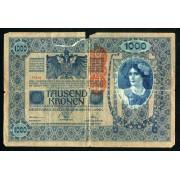 Billete Austria P.60 1000 Coronas 1902 Circulado Rotura importante
