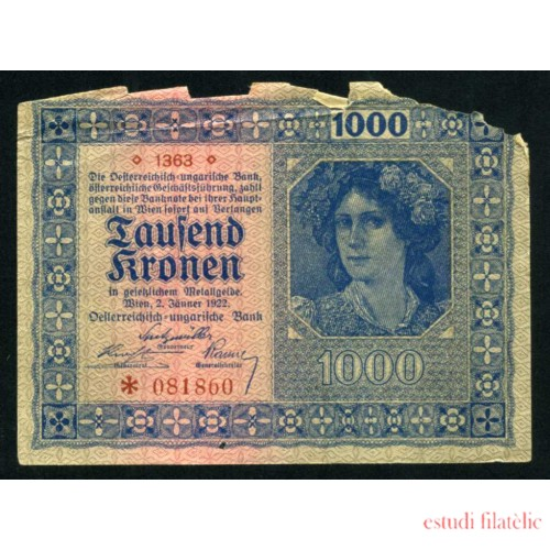 Billete Austria P.78 1000 Coronas Roturas y dobleces
