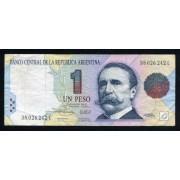 Billete Argentina P.339b 1 Peso 1993 Circulado. Pliegues y dobleces