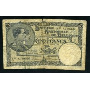Billete Bélgica P.97a 5 Francos 1926 Firmas de Hautain y Stacquet Circulado Pliegues Rotura