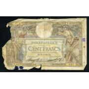 Billete Francia P.78c 100 Francos 1934 Circulado Pliegues Roturas importantes Manchas de tinta