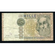 Billete P.109A Italia 1000 Liras 1982 Circulado Pliegues