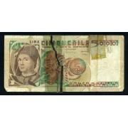 Billete P.105  Italia 5000 Liras 1979 Circulado Rotura central reparada con cinta adhesiva