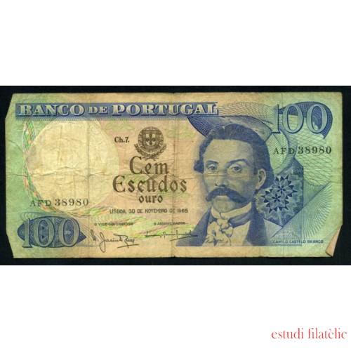 Billete P.169a Portugal 100 Escudos 1965 Pliegues, dobleces