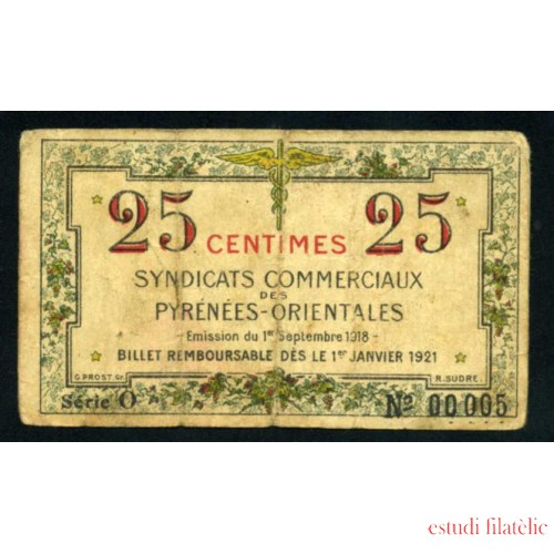 Billete Francia Sindicatos comerciales de los Pirineos Orientales 0.25 Francos 1 de Septiembre de 1918 Pliegues