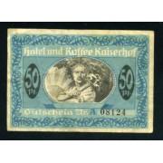 Billete Alemania 1920 Ciudad de Müster Westfalia 50 centavos Bono del Hotel Kaiserhof Pliegues