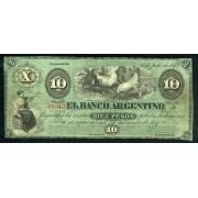 Argentina Concordia 10 pesos 1873 Buen estado Billete Banknote