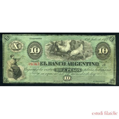 Billete Argentina Concordia 10 pesos 1873 Buen estado