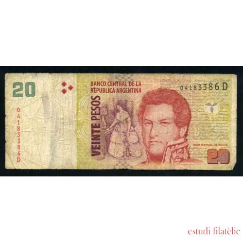 Billete Argentina P.355 20 pesos 2003 Circulado Pliegues, defecto