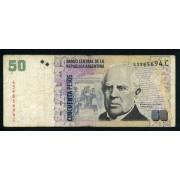 Argentina 50 pesos 2003 Billete Banknote Circulado Pliegues