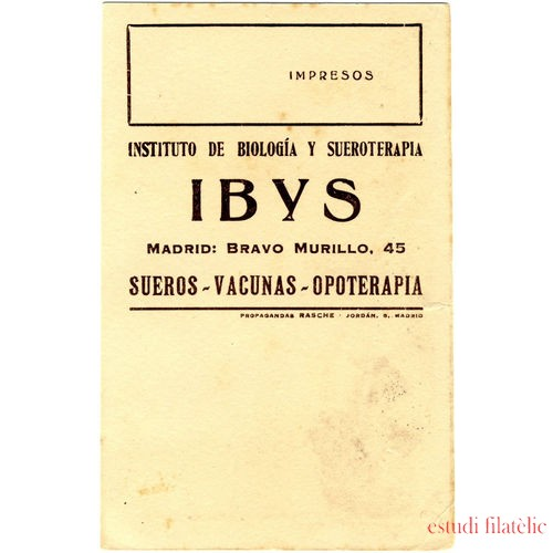 ESPAÑA TARJETA POSTAL PRIVADA Nº 9 LAIZ 419 IBYS SUEROS VACUNAS OPOTERAPIA