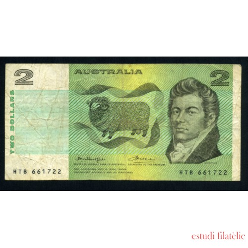 Billete Australia P.38 2 Dolares 1966-72 Pliegues y dobleces