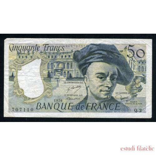 Billete P.152a Francia 1976 50 Francos Circulado Pliegues