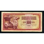 Billete P.80 Yugoslavia 100 Dinara 1965 Circulado Pliegues