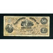 Billete Estados Unidos  P.1 50 Dólares 1861 Estados Confederados de América  Guerra Civil  Circulado