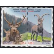 España Spain Emisión conjunta 2012 España-Rumanía Fauna Ciervo Deer MNH