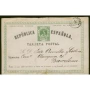 España Spain Entero Postal 2v  Vuelta 1874 Zaragoza a Barcelona