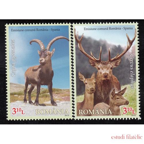 España Spain Emisión conjunta 2012 Rumanía-España Fauna Ciervo Deer MNH