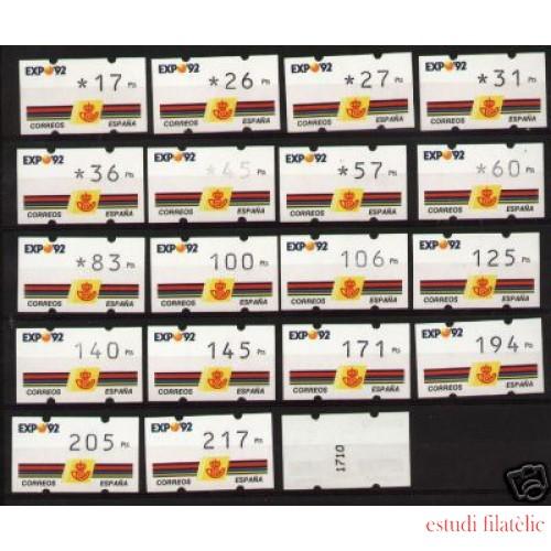 <div><strong>ATMs Kl&uuml;ssendorf Expo 92 Año 1992 19 valores con Nº</strong></div>