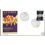 Andorra española 72 1972  Europa CEPT SPD  Sobre Primer Día
