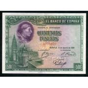 Billete 500 Ptas 15-8-1928 Cardenal Cisneros