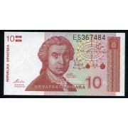 Billete P.18 Croacia 10 Dinars 1991 SC