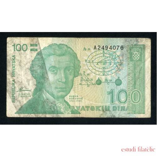 Billete P.20U Croacia 100 Dinars 1991 circulado, pliegues, manchas