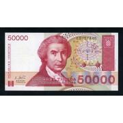 Billete P.26  Croacia 50000 Dinars 1993 SC