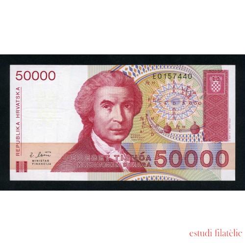 Croacia 50000 Dinars 1993 Billete Banknote Sin Circular