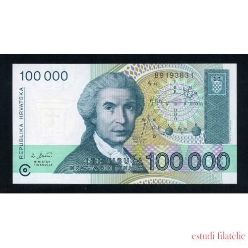 Croacia 100000 Dinars 1993 Billete Banknote Sin Circular