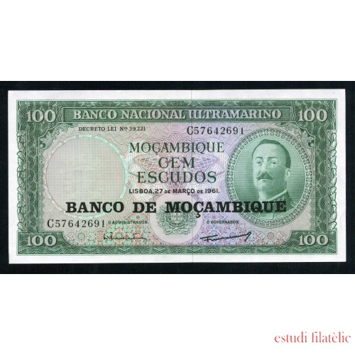 Billete P.109 Mozambique 100 Escudos 1961 SC