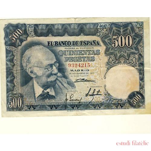 Billete 500 PTAS MADRID 19-11-1951 SIN SERIE