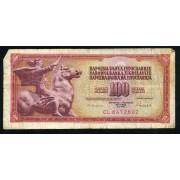 Billete P.90U Yugoslavia 100 Dinara 1986 Billete circulado