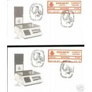 <div><strong>ATMs Etiqueta Postal Conmemorativa N</strong><strong>º 10a/b Exfilna 87 </strong><strong>en sobre </strong></div>
