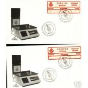 <div><strong>ATMs Etiqueta Postal Conmemorativa N</strong><strong>º 11a/b Expo 92 </strong><strong>en sobre </strong></div>